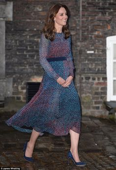 Perfect host: Kate Middletondonned a $525 L.K. Bennett dress to host the Obamas for dinner at her Kensington Palace home on April 22, 2016