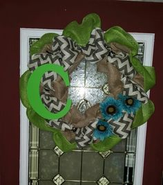 Green, teal and chevron wreath