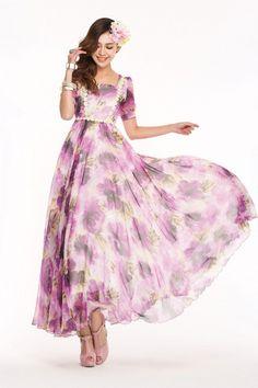 鮮やかパープルにリトルフラワーがポイント!ワンピ風ロング♪ - ロングドレス・パーティードレスはGN|演奏会や結婚式に大活躍!