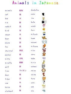 Learn the words for animals in Japanese