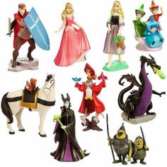 sleeping beauty figures.  aurora-- briar rose,  goblins, dragon,  animals in cloak