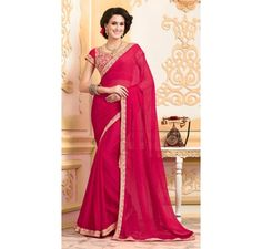 chiffon saree with hand embroidery and stone work