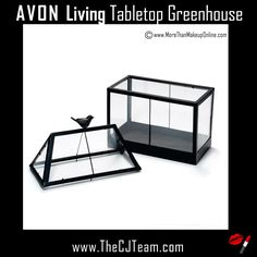 Avon Living Tabletop Greenhouse. Avon. Power plants! Creates the perfect environment for small plants, herbs, and terrarium plants - like moss, succulents, and mini cacti. This greenhouse also helps keep plants safe from seasonal changes in temperature and unfriendly bugs. Reg. $34.99. Shop online with FREE shipping with any $40 Avon purchase. #Avon #Home #HomeDecor #CJTeam #SimpleSpringStyle #AvonLiving #Avon4Me #C8 #Spring #Greenhouse #IndoorGreenhouse Shop Avon Living @ www.TheCJTeam.com