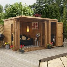 Shed Plans - 10 x 8 Waltons Contemporary Garden Room Wooden Summer House with Side Shed - Now You Can Build ANY Shed In A Weekend Even If You've Zero Woodworking Experience! Outdoor Rooms, Outdoor Living, Outdoor Sheds, Wooden Summer House, Summer Houses, Small Summer House, Corner Summer House, Contemporary Garden Rooms, Contemporary Decor