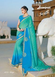 #Laxmipati Presents Blue & Green Georgette Embroidery Saree and Blue Georgette Blouse along with Fancy Lace Border @ ₹3492.0 #Catalogue #JAISHREE #DesignNumber: 4521  #Bridal #ReadyToWear #Wedding #Apparel #Art #Autumn #Black #Border #MakeInIndia #CasualSarees #Clothing #ColoursOfIndia #Couture #Designer #Designersarees #Dress #Dubaifashion #Ecommerce #EpicLove #Ethnic #Ethnicwear #Exclusivedesign #Fashion #Fashionblogger #Fashi Fancy Sarees, Party Wear Sarees, Indian Clothes, Indian Outfits, Lehenga Saree, Sari, Embroidery Saree, Dubai Fashion, Lace Border