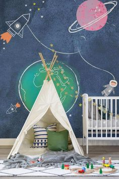 nursery or kid room decor, playroom decor Want ideas on fantastic wallpaper for your child's bedroom. Look no further. Here is a post full of great decorating ideas for the little explorer in your home. Interiors, Kids Style, home and family Nursery Wall Decor, Nursery Room, Boy Room, Playroom Decor, Child Room, Space Themed Nursery, Girl Nursery, Bedroom Themes, Bedroom Decor