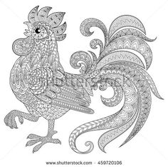 Rooster in zentangle style. Symbol of Chinese New Year 2017. Adult antistress coloring page. Black and white hand drawn doodle for coloring book