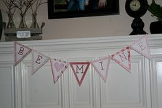 Free Valentines Day Printable Bunting and Printable!  Available to read Kiss Me, Be Mine or Blank, so you can customize it!