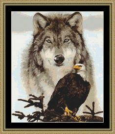 Instant Download! Wolf & Eagle Spirits Cross Stitch Pattern (8250) PDF file for easy printing https://www.etsy.com/shop/InstantCrossStitch
