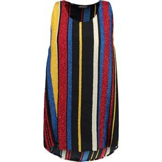 Balmain Bead-embellished striped silk top ($605) ❤ liked on Polyvore featuring tops, red, beaded top, colorful tops, loose fit tops, silk top and red top