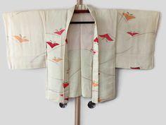 Vintage Pale Yellow Silk Kimono Jacket Haori Japanese