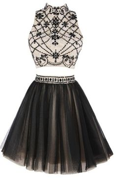 43895546c292b Amazon.com  Ellames Short Tulle Homecoming Dress Two Pieces A Line Prom  Party Dresses  Clothing