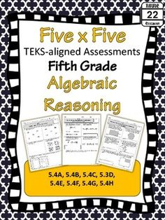 This set includes 8 assessments with 5 problems each aligned to the Fifth Grade Algebraic Reasoning TEKS. There are 40 total problems!!! Answer keys and a data form to track student progress are also available. These problems are great for math centers, bellringers, exit tickets, and other types of assessments and checks for understanding.