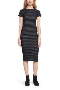 Slim fit short sleeved crewneck dressDouble-layered novelty striped jerseySoft…