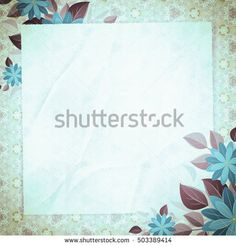 Vintage vignette with blank paper and floral angles, sky-blue. Retro background with abstract pattern. The basis for design or text.