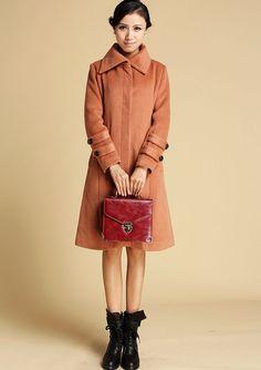 Black coat long sleeve Warm jacket winter jacket wool by xiaolizi