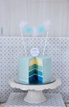 Perfect boy baby shower cake - love the different colored layers inside.