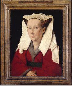 Jan Van Eyck - 1439 - Portret of his wife Margaretha Van Eyck. Incredible detail on the ruffles on the headpiece