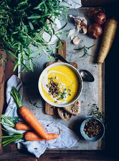 Rosemary Roasted Carrot Soup, via Cashew Kitchen