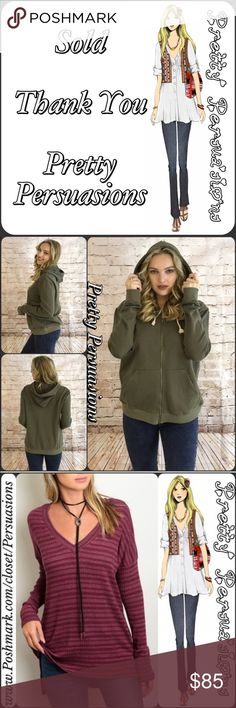 SOLD • Bundle Of 3 • Thank You 💕 Please see original listings for item descriptions 💕 this is for our buy two get one of equal or lesser value free sale 💕 Above items pictured 1) Olive Zip Up Hoodie • Size Medium $35.00; 2) Striped Burgundy V-Neck Sweater • Size Medium $34.00; 3) Blue Henley • Size Large • $0.00 Free w/purchase 🎉 Total: $35+$34=$69.00💕 Thank you for shopping with Pretty Persuasions ❤️💕 Pretty Persuasions Other
