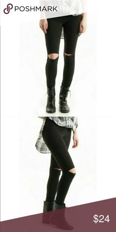 Cut Out Knee Leggings The look of distressed ripped knee jeans with comfort! High waisted made in USA 95%cotton 5%spandex. Price is firm unless bundled Pants Leggings