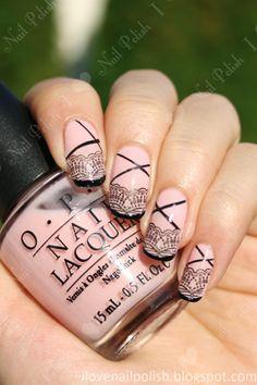 pink and black nail