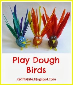 Welcome to the firstFine Motor Friday! A select group of five bloggers are each posting a fine motor skills activity every Friday in October. Look out for some great ideas over the next four weeks! Our fine motor skills activity was super quick to put together - and I just love the results!      We received these lovely feathers from CraftProjectIdeas.com and I decided we should use them to make some lovely little play dough birds - and work on some fine motor skills at the same time! I c