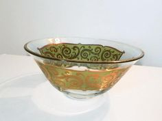 VTG Mid Century Large Culver Glass Bowl, Green & Gold Toledo Pattern, MCM Barware Chip or Punch Bowl, Collectible Glass, Elegant Gift Idea Etsy Shipping, Glass Collection, Green And Gold, Punch Bowls, Clear Glass, Decorative Bowls, Barware, Chips, Mid Century