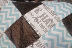 Cowboy Village Blue Chevron and Brown Minky by DesignsbyChristyS