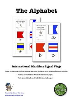 International Maritime Signal Flags Alphabet Mini Booklets With Cursive Writing English Resources, Cursive, Nautical Theme, Booklet, Homeschooling, Charts, Alphabet, Flag, Letters