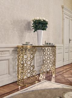 Console Table By Giuseppe Iasparra | Small Console Table With Base Formed  From Ground Laser Cut Metal With A Curved U201cSequenceu201d Decoration.