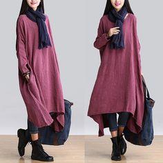 Women large size maxi dress linen dress Casual by linendress88