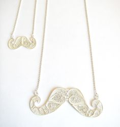 Filigree BIG MOUSTACHE stearling silver necklace.    HANDMADE.     AVAILABLE: www.jewelsdontshine.com www.etsy.com/shop/jewelsdontshine http://www.storenvy.com/stores/18098-jewels-dont-shine jewelsdontshine@gmail.com