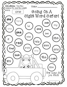 Sight Word Practice Worksheet Kindergarten Sight Word Dauber Printables Pre Primer Edition Pages Sight Word Worksheets, Kindergarten Math Worksheets, Sight Word Activities, Teaching Kindergarten, Printable Worksheets, Teaching Reading, Printables, Word Games, Learning