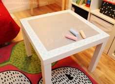 How to make a stenciled chalkboard table for kids. This would make an awesome Christmas present.