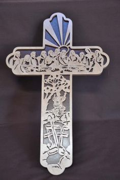 Cnc Wood Patterns Cross With Last Supper Scene V Carve