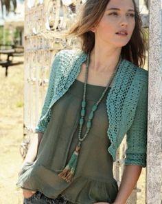 Crochetemoda: Bolero Verde de Crochet