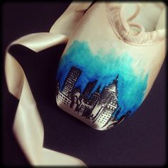 'Over the city' Energetiks hand decorated pointe shoes. Good idea for dead pointe shoes!