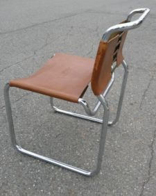 Mid Century Modern MART STAM Italy Type Chrome and Tan Leather Cantilever Chair via ebay