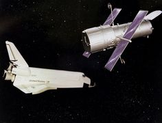 TODAY IN HISTORY: 1980 NASA concept art shows a space shuttle deploying the future Hubble Space Telescope. The real thing was released into orbit from the Shuttle Discovery on April 25, 1990. (NASA)