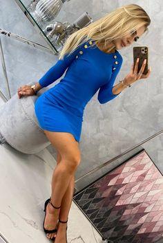 Rochii de zi la modă -Rochii de zi în vogă anul aceasta! Smart Casual, Stretchy Material, The Row, Fashion Dresses, Bodycon Dress, Buttons, Fitness, How To Wear, Blue