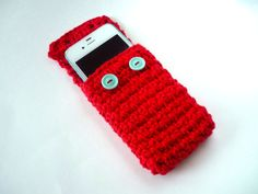Red and Light Blue Crocheted Phone or iPod Cozy by HarvestingHart, $14.00