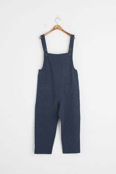 Pocket Point Dungaree Trousers, Navy, 50% Cotton, 50% Linen