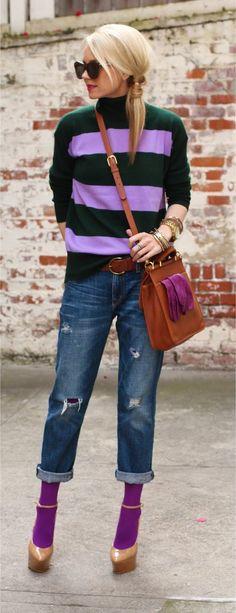 Blair Eadie in purple stripes .Love the matching purple socks ! Stripes in streetstyle