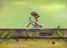 Neil Thompson Artist - Ride a Red Bike Acrylics on board