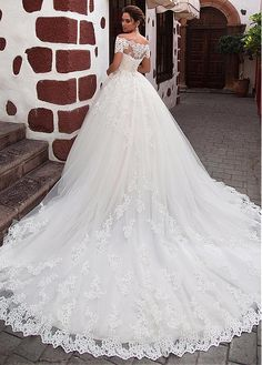 Buy discount Attractive Tulle Off-the-shoulder Neckline Ball Gown Wedding Dress With Lace Appliques & Beadings at Laurenbridal.com