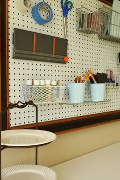 20 Inspiring Pegboard Creative Spaces! Craft room pegboard