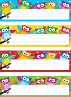 Owl Classroom Theme: desk tags - would be adorable return address labels. I will type vertical name labels, stick on each one and laminate as bookmarks for students. Or type an encouraging 'literacy' quote! I love to read! I can read! Owl Theme Classroom, Classroom Labels, Classroom Setting, Classroom Displays, Future Classroom, School Classroom, Classroom Organization, Classroom Ideas, Owl Name Tags