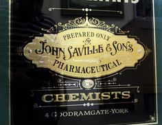John Saville & Sons, Chemist, York « David Smith – Traditional Ornamental Glass Artist