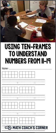 Ten-frames are a great tool to help students understand numbers from and begin to develop place value understandings. Grab a recording sheet for free! Preschool Math, Math Classroom, Teaching Math, Kindergarten Math, Math Strategies, Math Resources, Math Activities, Math Work, Fun Math